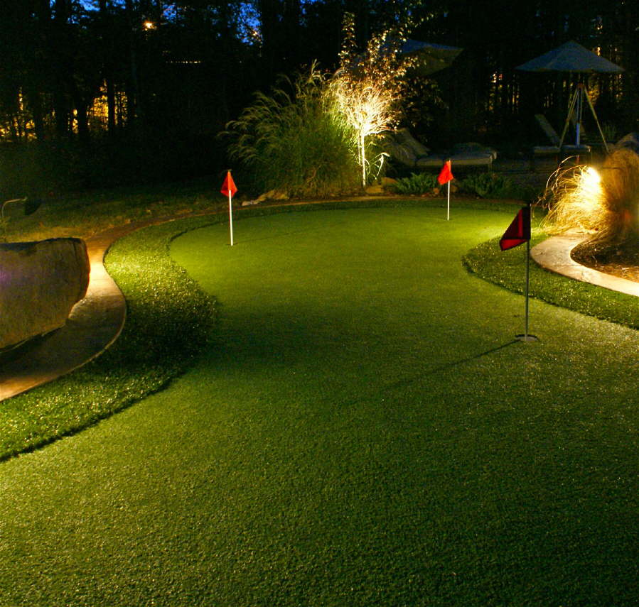 Putting Green With Accent Lighting Outdoor Contracting